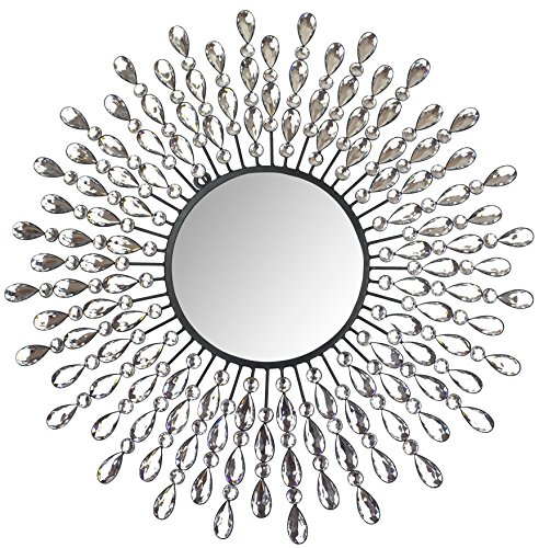 "Decor, 23.50"" Crystal Drop Wall Mirror, 9"" Round Beveled Mirror Handmade for Living Room & Bedroom"