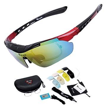 West bicicleta Unisex polarizadas gafas de sol deportivas con 5 lentes intercambiables para ciclismo escalada pesca