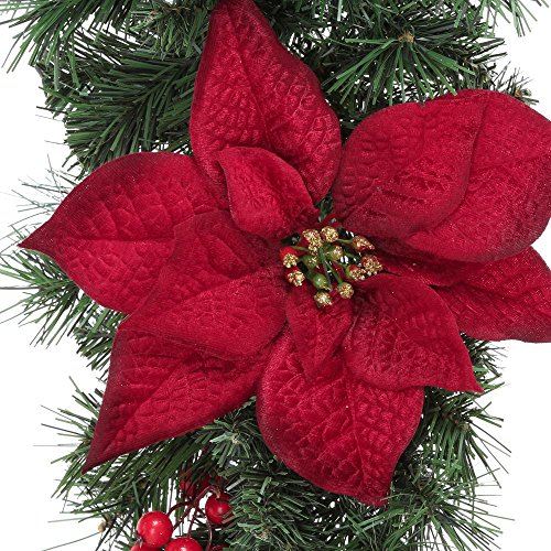 Home Accents Holiday 17 ft. Unlit Artificial Christmas Garland, Beautifully Decorated with Fabric Poinsettia, Red Berries, Gold Glitter Cedar Sprigs, Pinecones and Bow Center Accent by Home Accents Holiday (Image #3)
