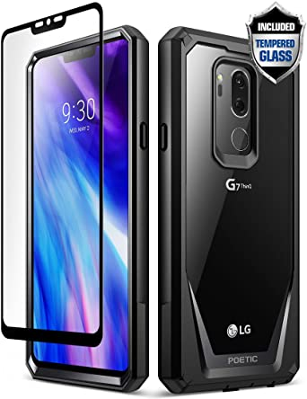 LG G7 Case, LG G7 ThinQ Case, Poetic Guardian [Scratch Resistant] [360 Degree Protection] Full-Body Rugged Clear Bumper Case [with Tempered Glass] for ...
