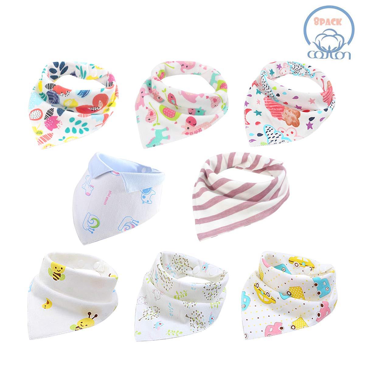 Baby Dribble Bib - Bandana Dribble Bibs Boys, Bandana Drool Bibs for Toddlers, Super Absorbent Soft Cute Bibs Girls, Ideal Baby Gift with 2 Adjustable Snaps - 10 PCS (Boy-Thin-A)