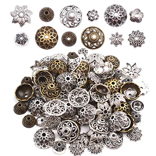 Jdesun 120 Pieces Bead Caps, Assorted Size Beads Spacers Jewelry Findings Accessories for Jewelry Making 2 Colors
