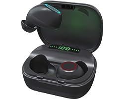 Fones De Ouvido TWS sem Fio Bluetooth 5.0 com Microfone Integrado, Estojo de Carregamento Digital Inteligente de Led, à Prova