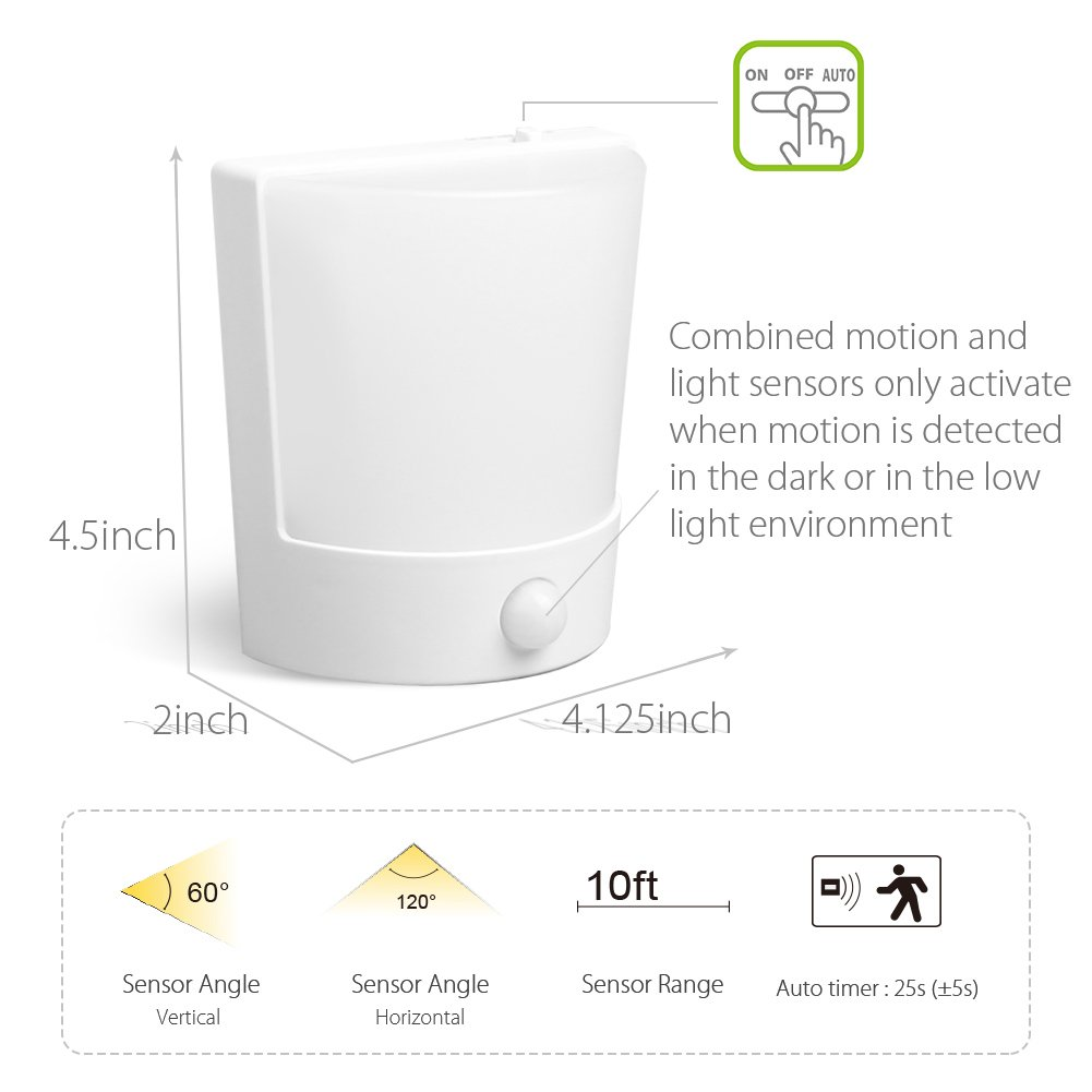 Amazon.com: Motion Activated LED Wall Sconce,Derlson Battery operated Motion sensor Wall Night Light for Hallways,Bedroom,Bathroom,Staircase and More (2 ...