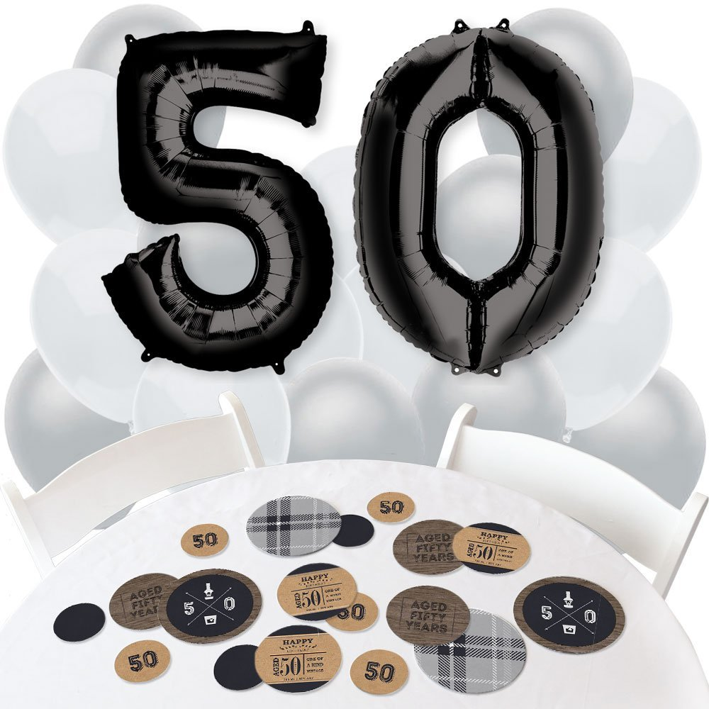 50th Milestone Birthday - Dashingly Aged to Perfection - Confetti and Balloon Birthday Party Decorations - Combo Kit