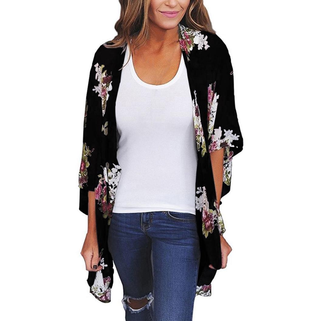 Kim88 Women Top Mid-Sleeve Chiffon Loose Shawl Print Cardigan Cover Up Blouse Beachwear (M, Black)