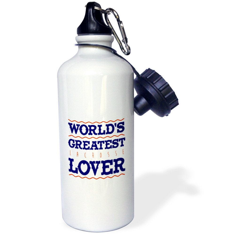 3dRose Russ Billington Designs - Lacrosse- Worlds Greatest Lover - 21 oz Sports Water Bottle (wb_239098_1) by 3dRose (Image #1)