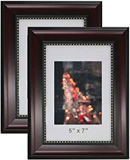 product image for flag connections Picture Frames for 5x7 Photo,2-Pack,Real Glass,Mahogany with Gold Beading,Wall & Tabletop Design