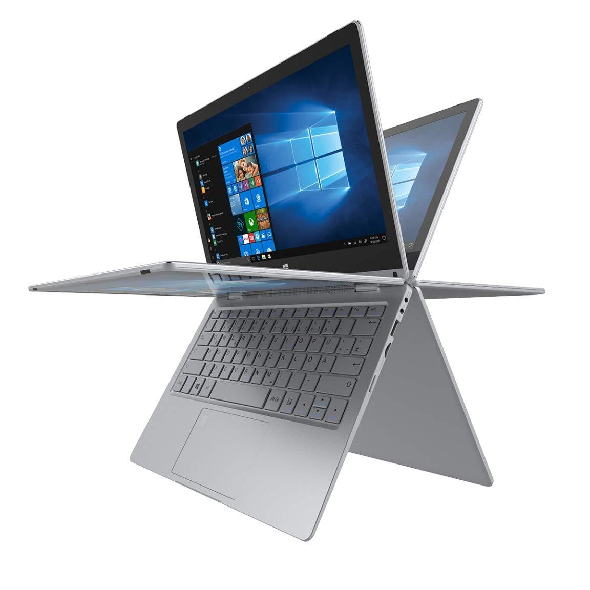 TREKSTOR PRIMEBOOK C11B-CO, Convertible (11,6 Zoll Full-HD IPS Touch Display, Intel Celeron N3350, 4 GB RAM, 64 GB Speicher, Fingerprintsensor, Windows 10, inkl. Office 365) silber