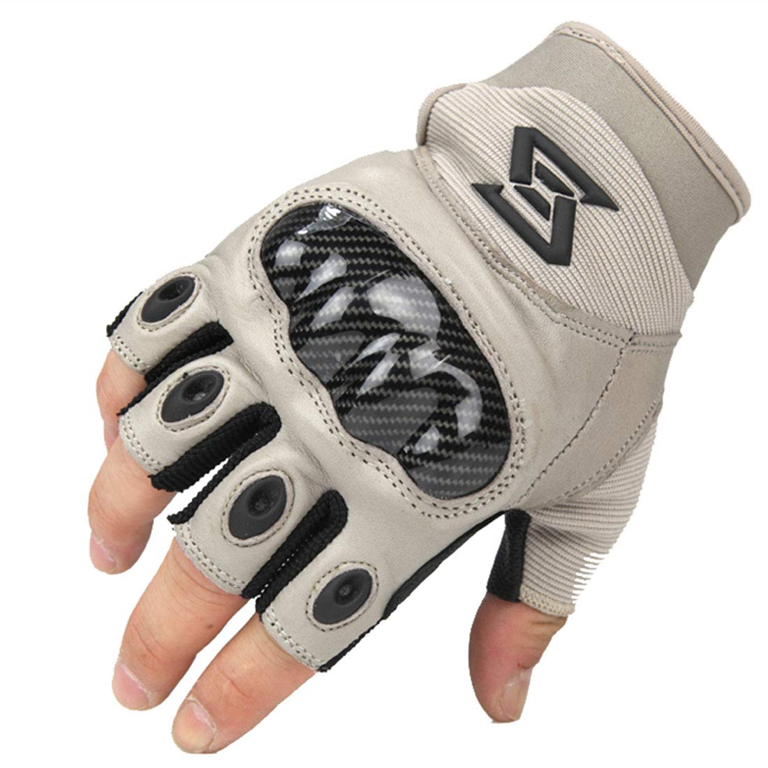 JESSIEKERVIN YY3 Leder Rüstung Taktische Halbfinger Handschuhe Kohlefaser äußere Schutzhandschuhe Ausbildung Rutschfeste Handschuhe