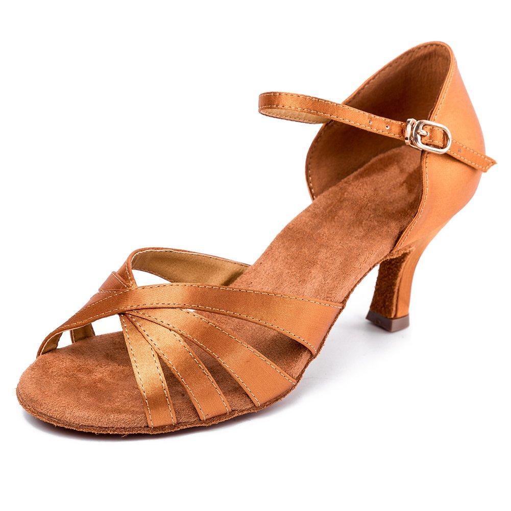 HIPPOSEUS Damen  Mauml;dchen Sandalen Ausgestelltes Tanzschuhe/Ballsaal Standard Satin Latein Dance Schuhe,DEAF416  42 EU|6.5CM Braun