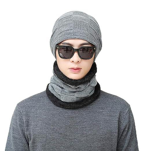 cc5620baa49 Outsta Hat Cap 2Pcs Men Women Winter Warm Knitted Beanie Hat+Scarf ...