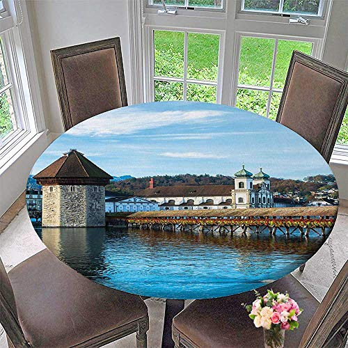 Mikihome Round Tablecloths Panoramic View of Oak Chapel Bridge in Northern Lands Lake European Aged City or Everyday Dinner, Parties 63