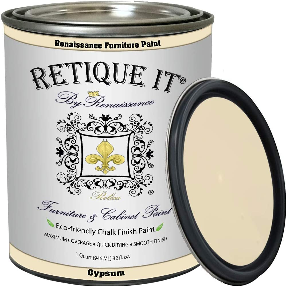 Retique It Chalk Furniture Paint by Renaissance DIY, 32 oz (Quart), 21 Gypsum