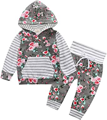 MetCuento Newborn Baby Girl Clothes Ruffle Sleeve Tops Floral Pants Toddler 3pcs Outfit Set with Headband 3-24 Months