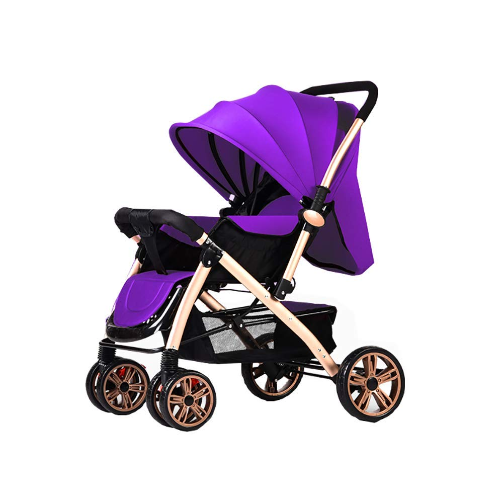 YACHE Baby Cart High Landscape Light Can Sit and Lie Down Fold Suspension Four Rounds Baby Baby Carriage Trolley Baby Cot by YACHE