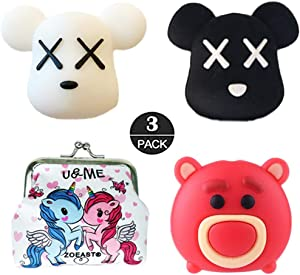 ZOEAST(TM) Cute Animal Strawberry Bear Cartoon Cable Protector USB Charger Saver Charging Data Earphone Line Bite Protector Compatible with All iPhone iPad iPod and Most Android Phones (3pcs Bear)