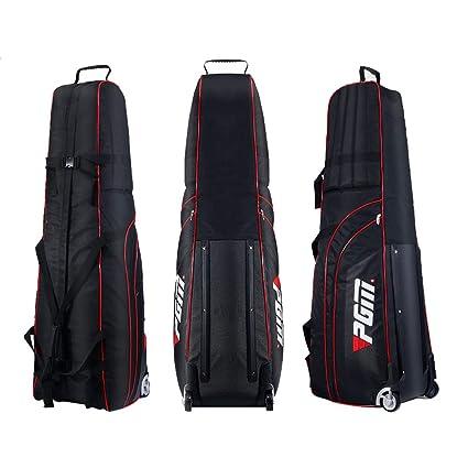 Bolsa de viaje acolchada con ruedas para golf PGM, viene con una pequeña funda de almacenamiento, plegable.