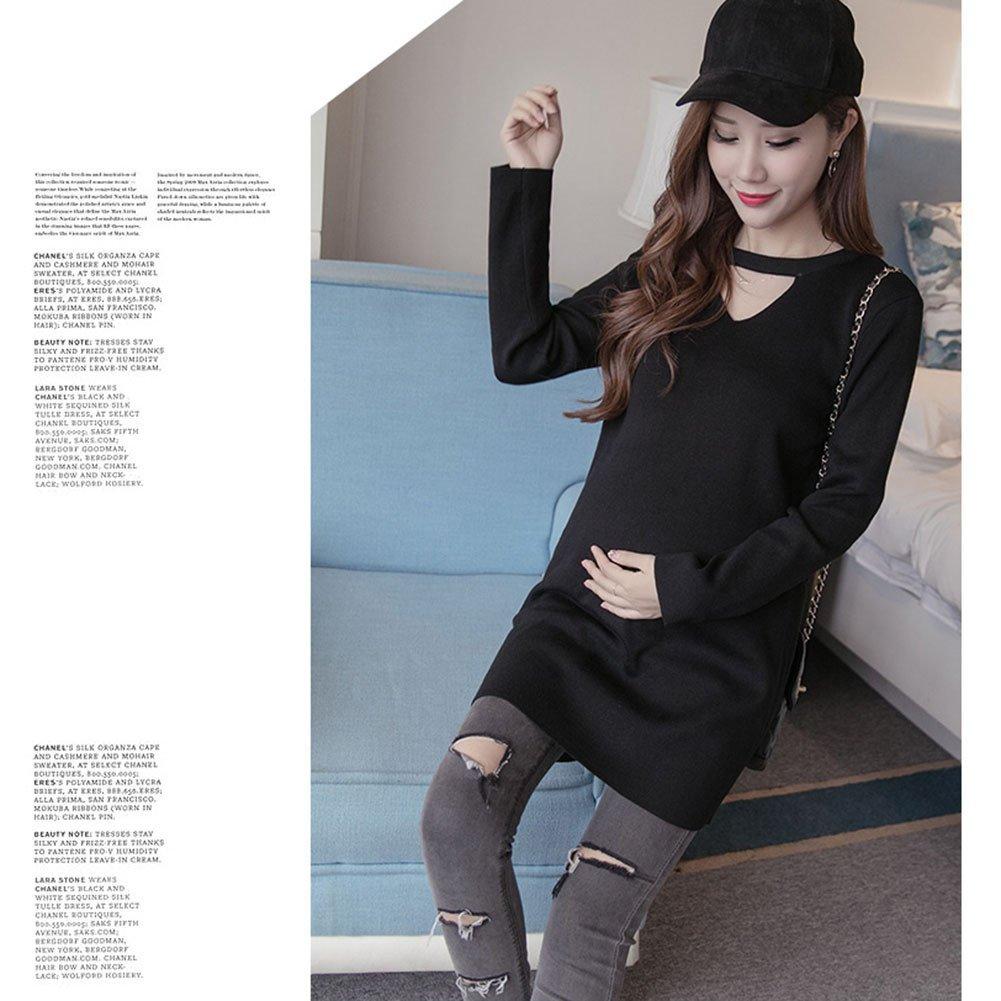 HZFF Las mujeres embarazadas en otoño, largas camisas de estilo coreano, Tide madre teje chaqueta, jersey de manga larga para mujeres embarazadas: ...