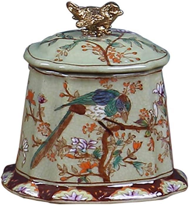 LINGS Urnas funerarias de cerámica para Cenizas humanas o Cenizas de Mascotas, urna funeraria Conmemorativa, Cubierta de pájaros, Cinco Patrones,A