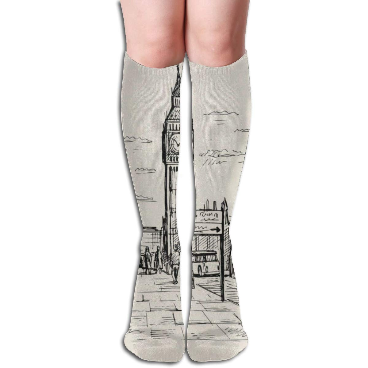 Stretch Stocking Hand Drawn London Street Soccer Socks Over The Calf Customized For Running,Athletic,Travel