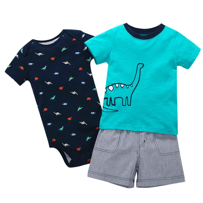 5a6703b3d 80% OFF Lonshell 3PCS Conjuntos de Ropa para Bebé Niños Camiseta de  Impresión de Patrón