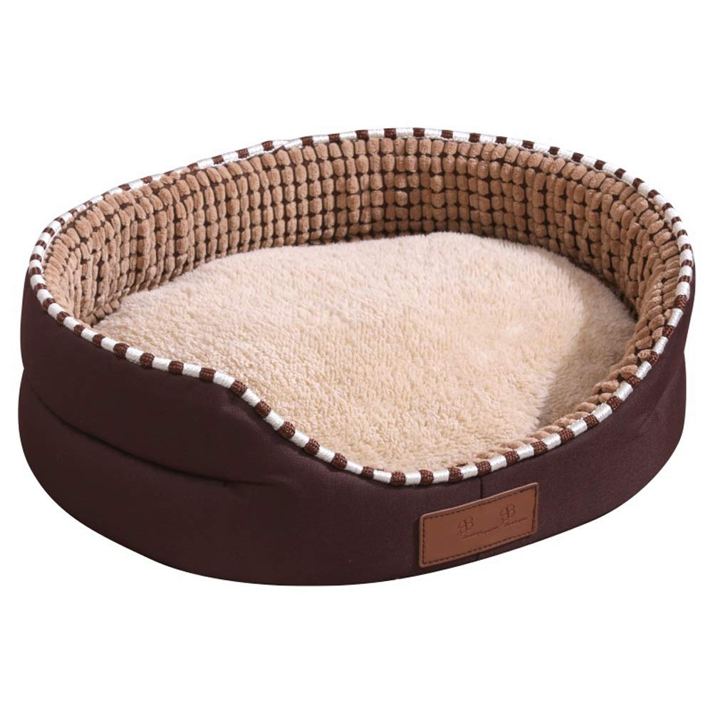 Large Pet house Luxurious Brown Large Dog Bed Cat Pet Mat With Short Plush Frabric, Four Seasons Detachable And Washable (Size   Large)