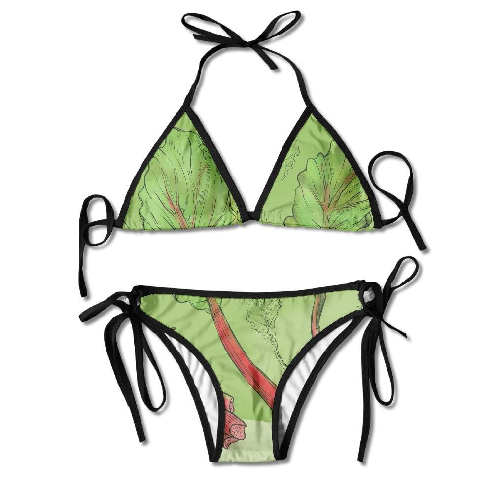 Amazon.com  Pengyou Fresh Rhubarb Illustration Women s Sexy Bikini Set  Swimsuit Bathing Suit Halterneck Triangle Swimwear  Clothing 5673d073c