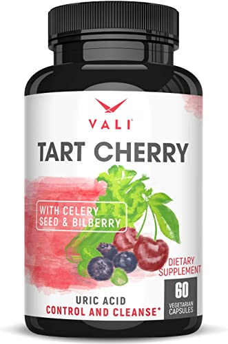 Organic Tart Cherry Extract Capsules Uric Acid Cleanse with Organic Celery Seed Bilberry for Joint Support Comfort, Muscle Recovery, Sleep, Pain Relief, Inflammation. Polyphenols Supplement Pills