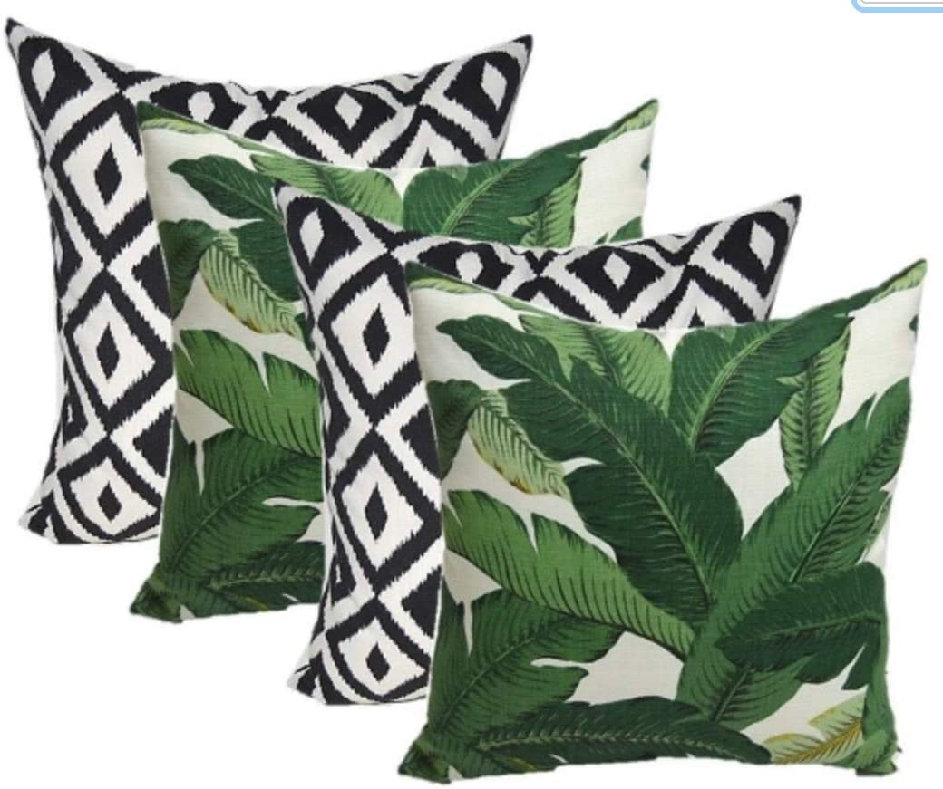 Amazon Com Set Of 4 Indoor Outdoor Square Decorative Throw Pillows Made Of Tommy Bahama Fabric Swaying Palms Green Tropical Palm Leaf Fabric 20 X 20 Garden Outdoor