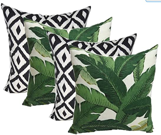 Resort Spa Home Decor Set of 4 Indoor Outdoor Square Decorative Throw Pillows, Made of Tommy Bahama Fabric- Swaying Palms Green Tropical Palm Leaf Fabric
