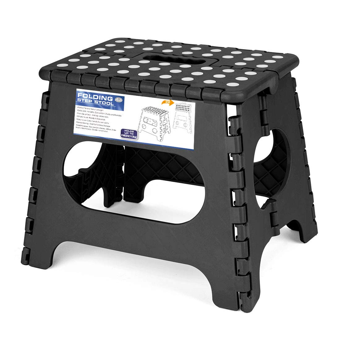 Acko 9'' x 11'' Black Folding Step Stool great for kids and adults. Holds up to 250 LBS