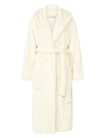 64229c5280588 Slenderella Ladies Super Soft Thick Fleece Dressing Gown Luxury Hooded Wrap  Bath Robe Medium (Cream