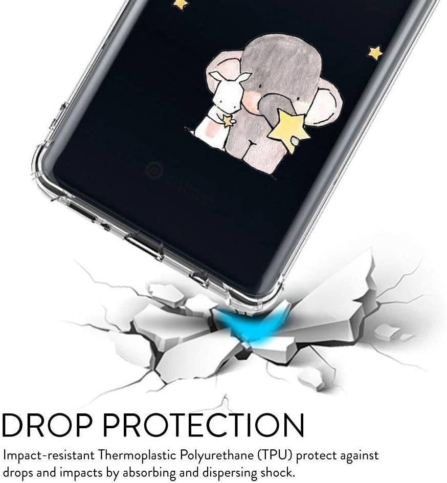 Oihxse Crystal Coque pour Xiaomi Mi 8 Lite Transparent Silicone TPU Etui Air Cushion Coin avec Motif [Elephant Lapin] Housse Antichoc Protection Bumper Cover (A13) A9