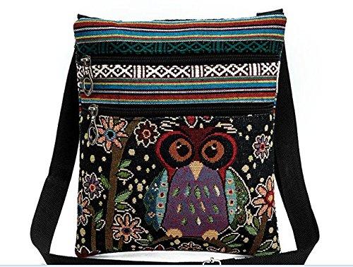 LCsndice Sü ß e Umhä ngetasche Bohemian Zipper Bag Schultertasche Messenger Bag Owl Printed Frauen Satchel