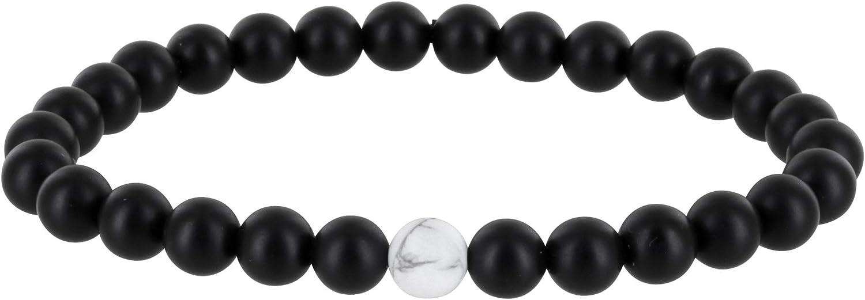 Pulsera de perlas para pareja, color negro mate, pulsera de la amistad, pulsera para pareja, ónix piedra natural, collar de perlas, mujer, hombre, niños