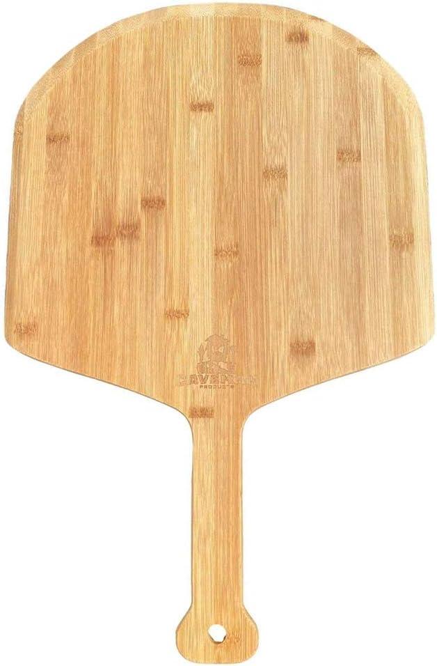 YEKKU Cáscara de pizza de madera de bambú, tabla de cortar de pádel de pizza con mango Tabla de pizza de madera, corte de pastel, tabla de servir