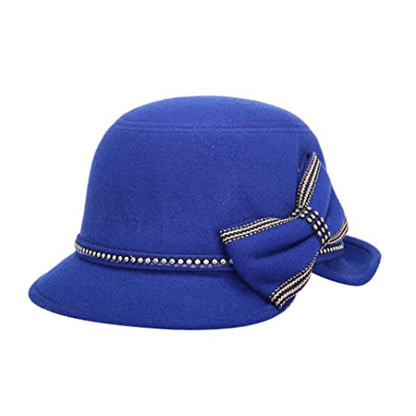 Dosige Mujer Vintage Sombrero Gorra Redondo Bowler Cloche Bombín Invierno  Visera Curvada Bowler Hat (Blau 75c5505f832