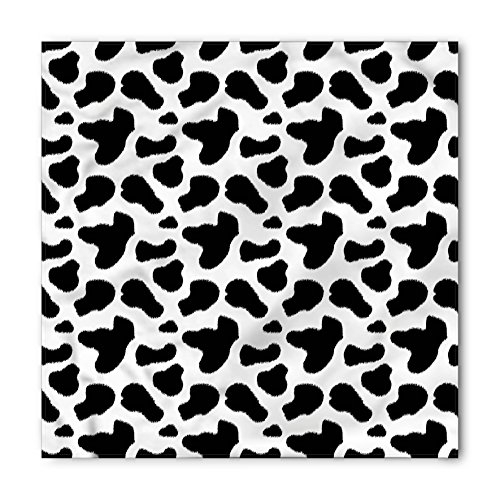 (Ambesonne Cow Print Bandana, Cow Hide Pattern with Spots Farm Life with Cattle Camouflage Animal Skin, Printed Unisex Bandana Head and Neck Tie Scarf Headband, 22 X 22 Inches, Charcoal)