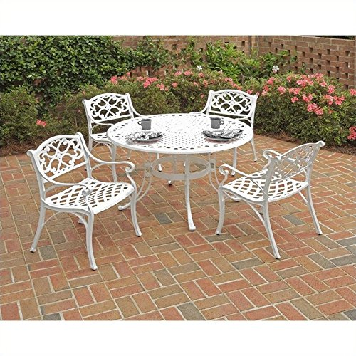 (Home Styles 5552-308 Biscayne 5-Piece Dining Set with Round Table and Arm Chair, White Finish, 42-Inch)