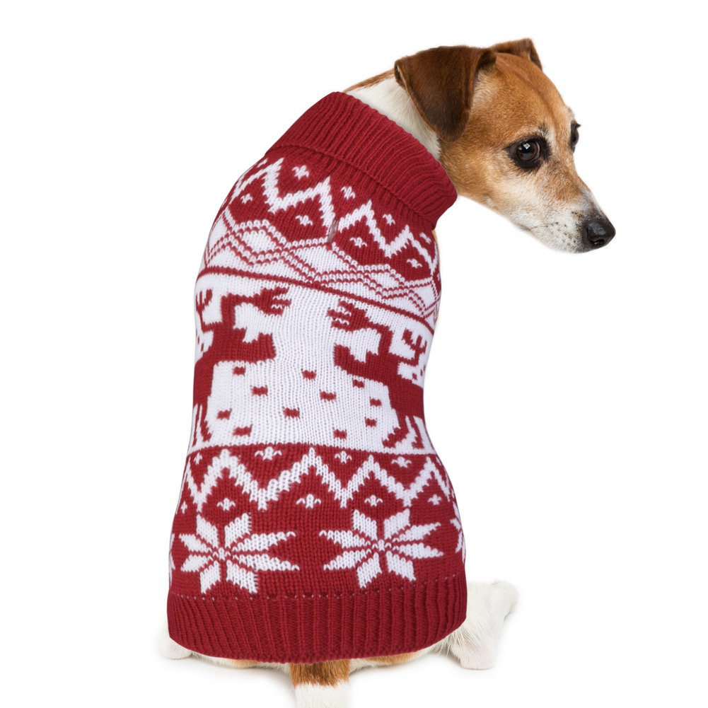PETBABA Dog Christmas Sweater, Soft Stretch Pullover to Keep Pet Warm in Winter Snow Cold Weather, Cable Knit Turtleneck Reindeer Snowflake, Xmas Jumper Fit Festival Holiday - L in Red