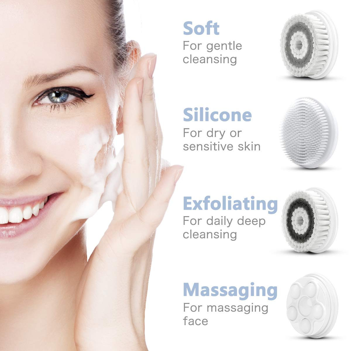 Facial Cleansing Brush, Waterproof Face Spin Brush Set with 4 Exfoliating Brush Heads