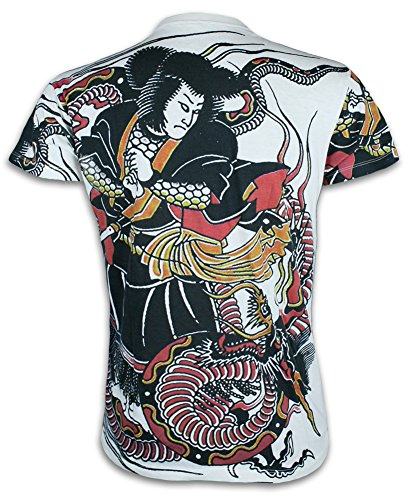 - Ronin Men´s T-Shirt Miyamoto Musashi Tattoo Dragon Martial Arts Size M - XL (L, White)