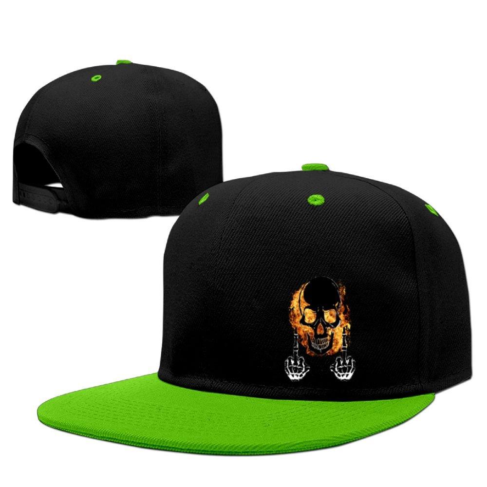 Lichang Bones Fire Middle Finger Unisex Adjustable Snapback Hip Hop Hat Baseball Cap