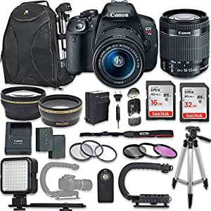 Canon EOS Rebel T5i DSLR Camera with Canon EF-S 18-55mm f/3.5-5.6 IS STM Lens + NEW VIDEO BUNDLE KIT + EXTRA MEMORY CARDS