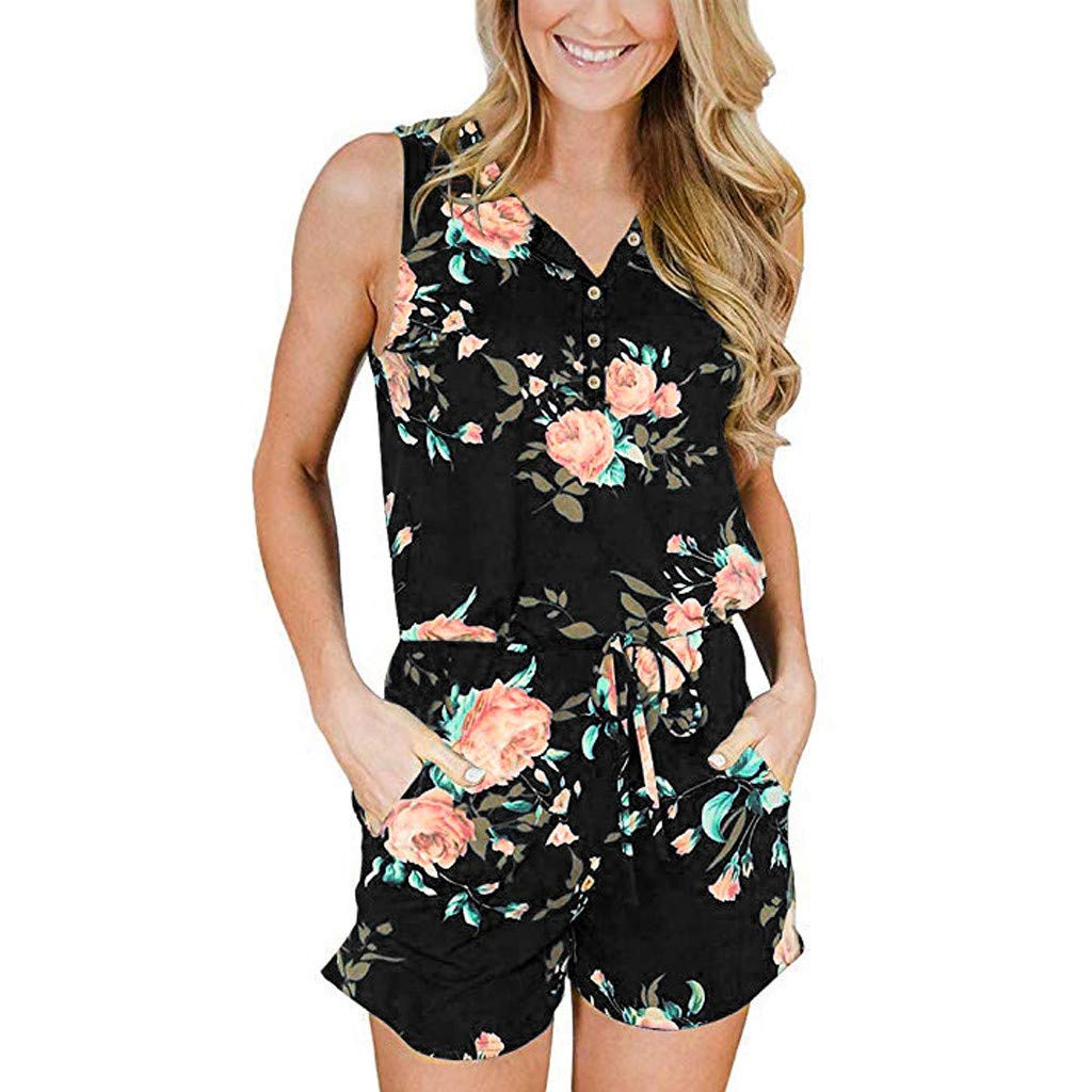 4Clovers Womens V Neck Rompers Casual Sleeveless Floral Short Jumpsuit Loose Short Pants
