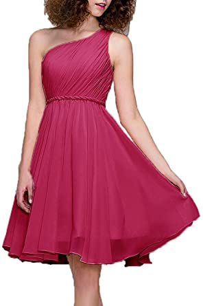 Prom Dresses Short Cocktail Dress One Shoulder Prom Formal Dresses For Women Bridesmaid, Color Fuschia