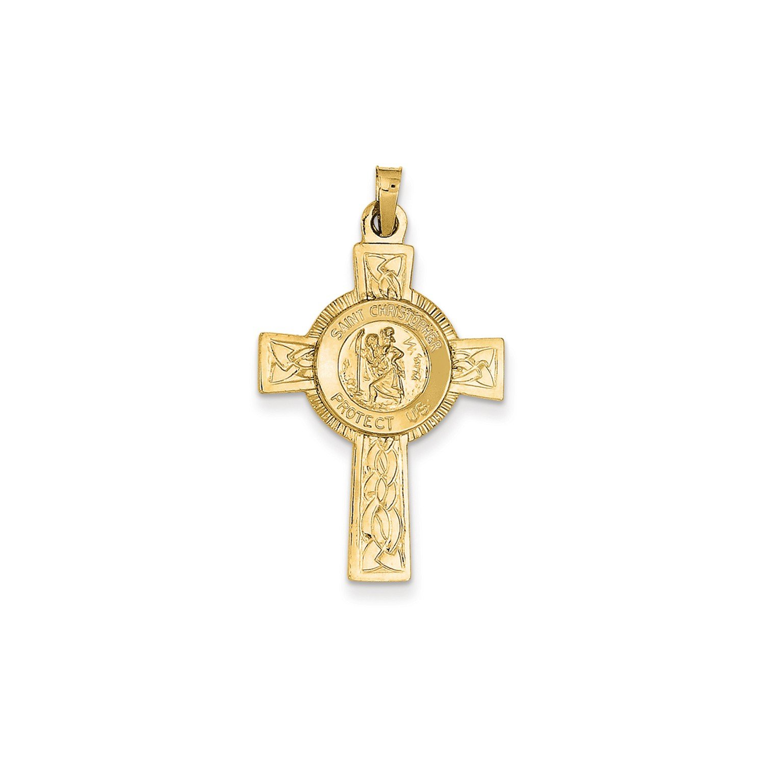 Roy Rose Jewelry 14K Yellow Gold Cross w/St. Christopher Medal Pendant