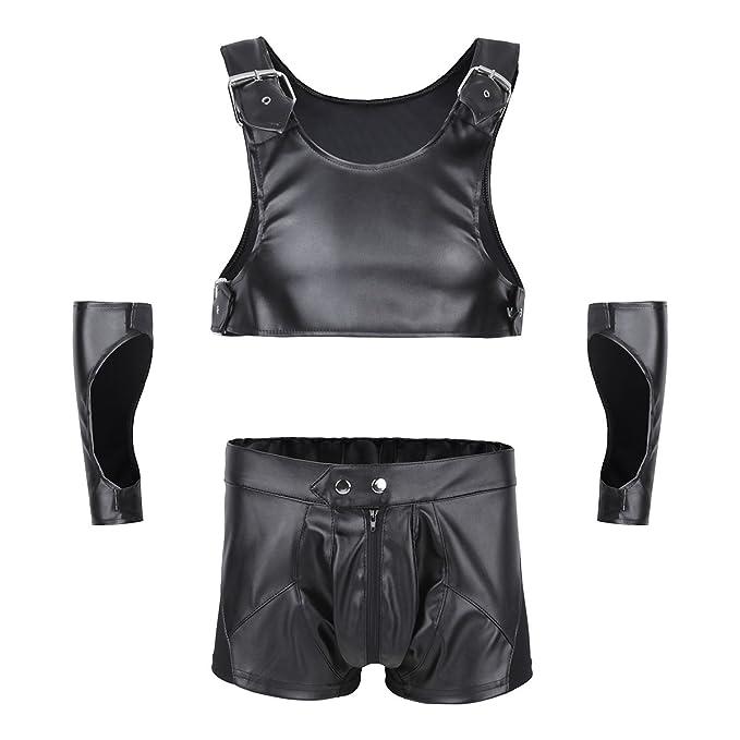 FEESHOW Ropa Interior Hombre Sexy Conjuntos De Cuero Cosplay Hombre Disfraz de Ropa erótica 3PCS Negra