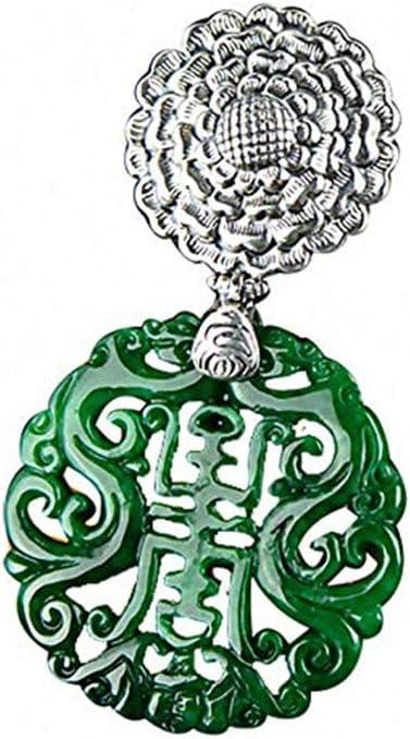 S925 Plata Retro Pendiente de Color Verde Jade prometedor y pintoresco Tallado Colgante de joyería Temperamento de la Personalidad de Las Mujeres y niñas